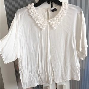 Urban Outfitters White Floral Collar Blouse Sz L